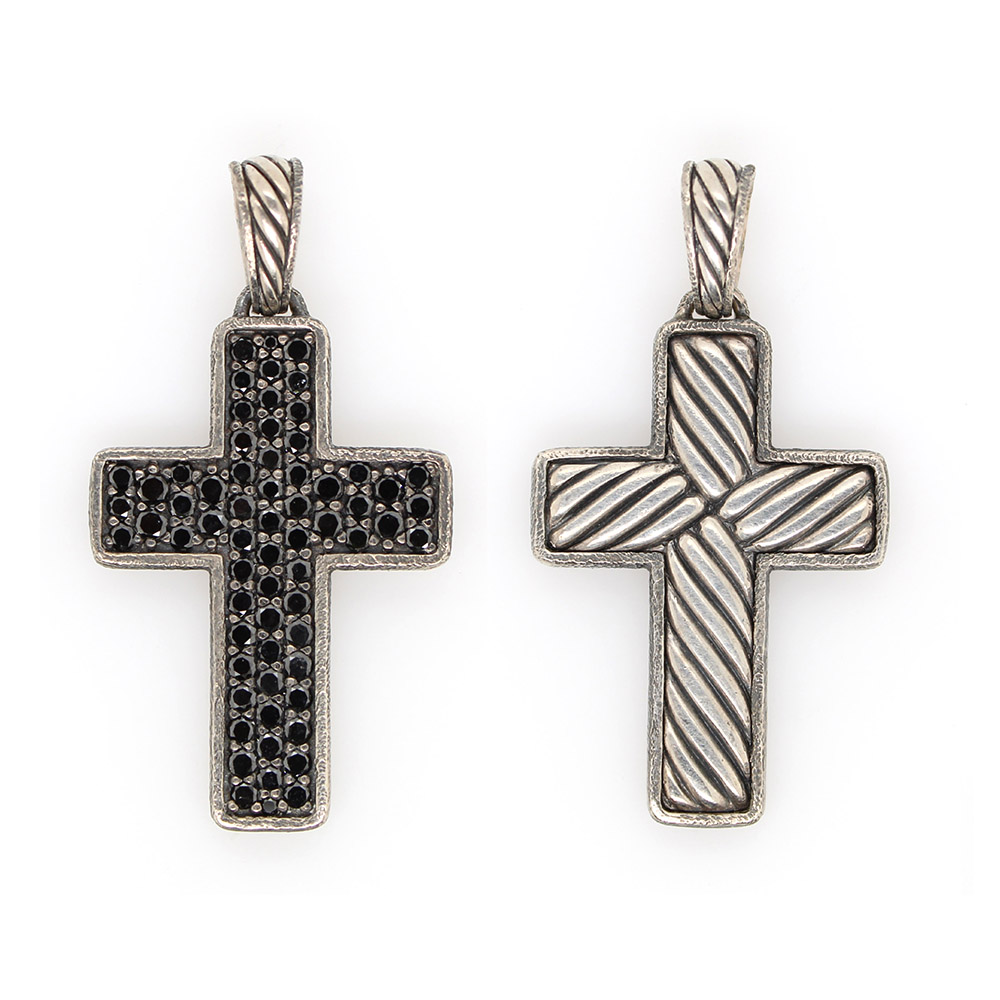 Vintage Sterling Silver Black Diamond Cross Pendant
