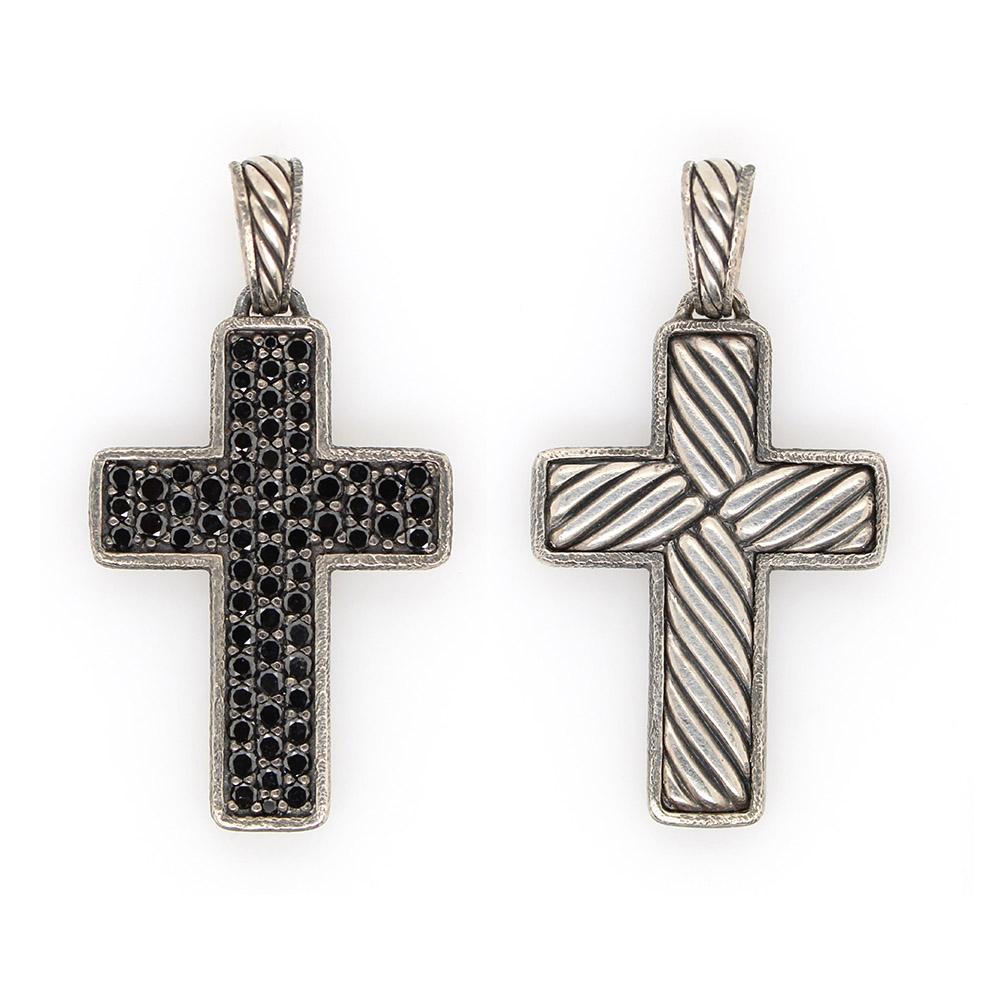 Vintage Sterling Silver Black Diamond Cross Pendant