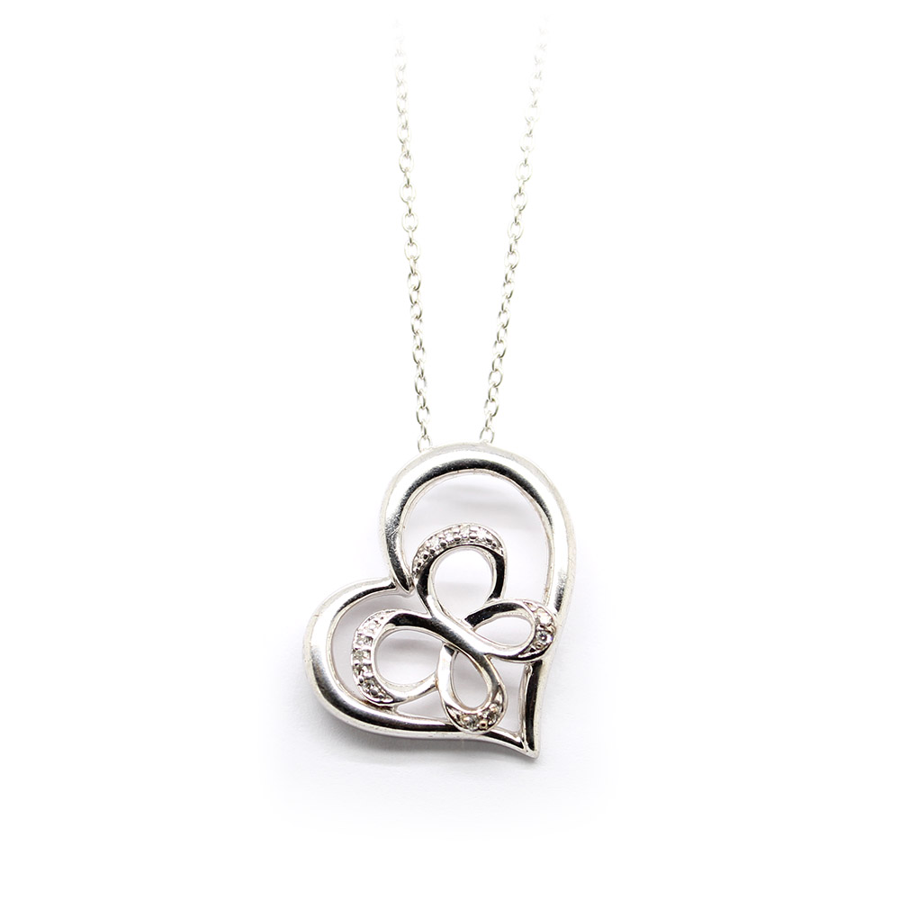 Estate Sterling Silver Butterfly Heart Pendant Necklace