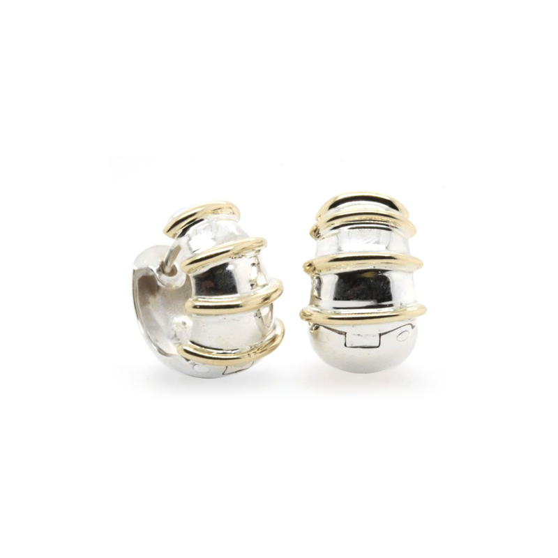 Estate Sterling Silver and 14 Karat Yellow Gold Huggie Earrings
