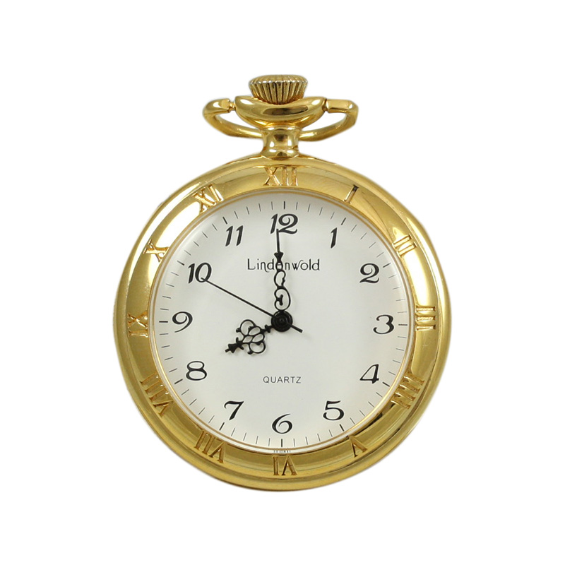 Vintage Stainless Steel Yellow Toned Lindenwold Pocket Watch.