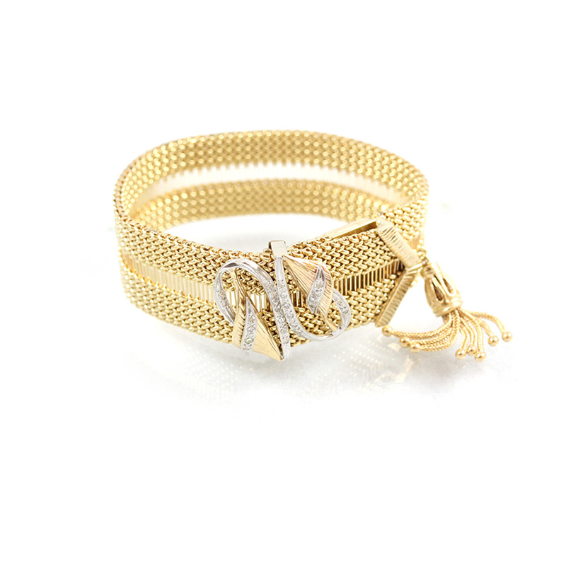 Vintage Geneve 14 karat yellow gold diamond mesh watch bracelet