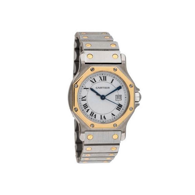 Estate stainless steel and 18 karat yellow gold Cartier Santos watch.