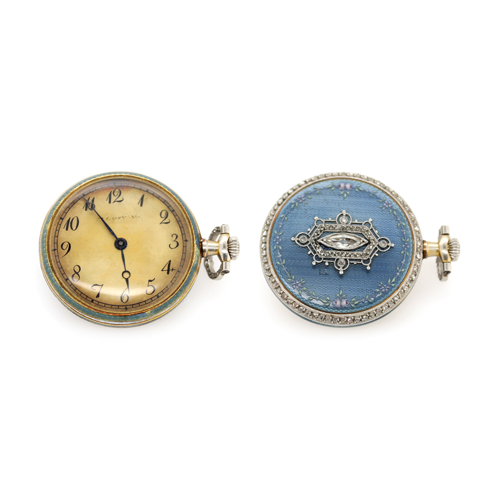 Estate Platinum and Blue Enamel Bailly France Pocket Watch