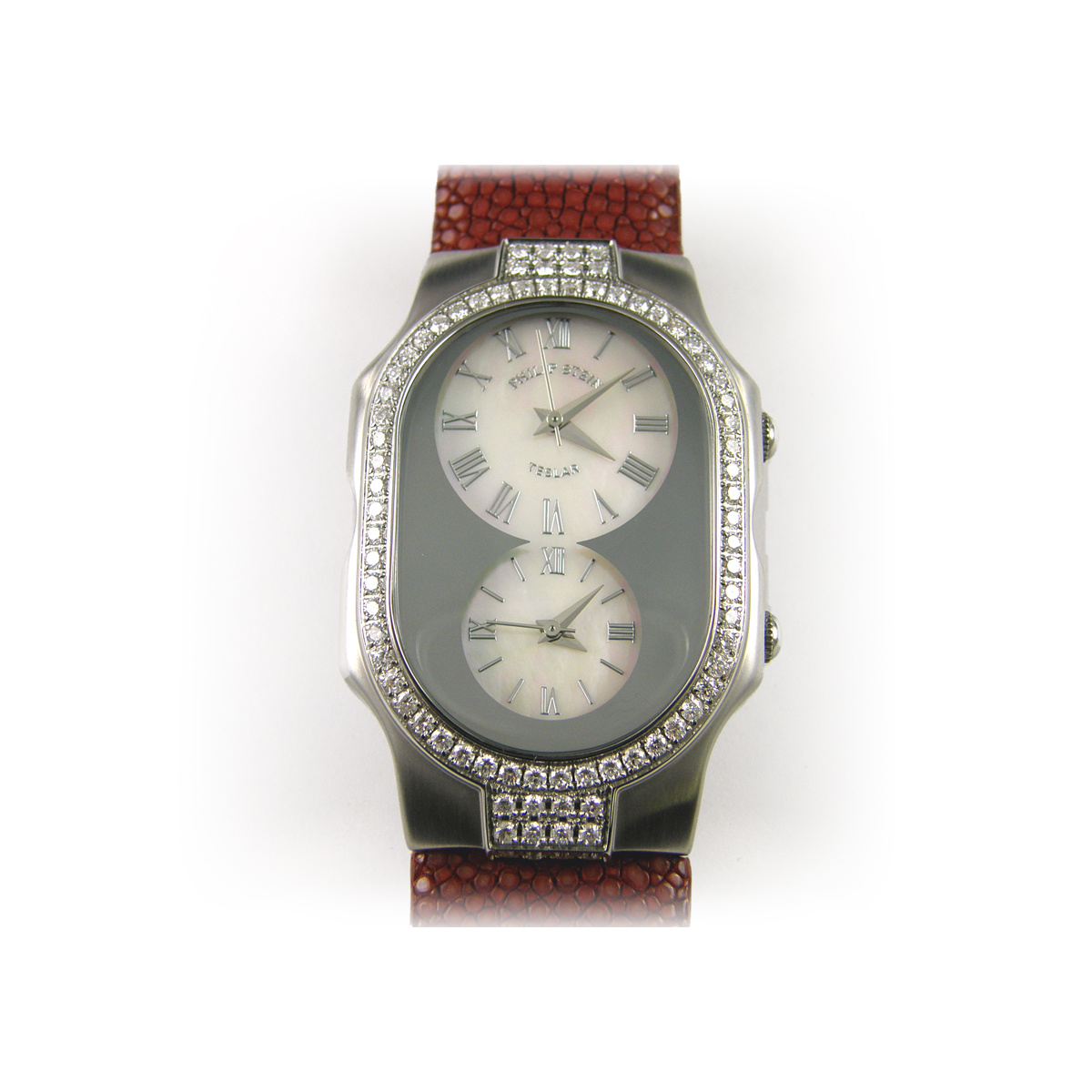 Vintage Philip Stein White Mother of Pearl Roman Dial watch with a Diamond Case with Two Straps