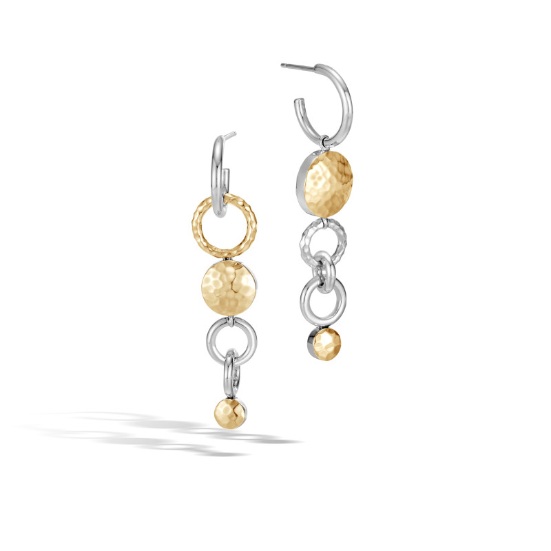 John Hardy Dot Hammered 18 Karat Yellow Gold and Silver Mismatched Interlink Drop Earrings