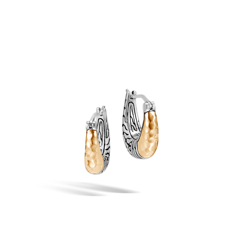 John Hardy Classic Chain Arch Hammered 18 Karat Yellow Gold and Silver Small Hoop Earrings
