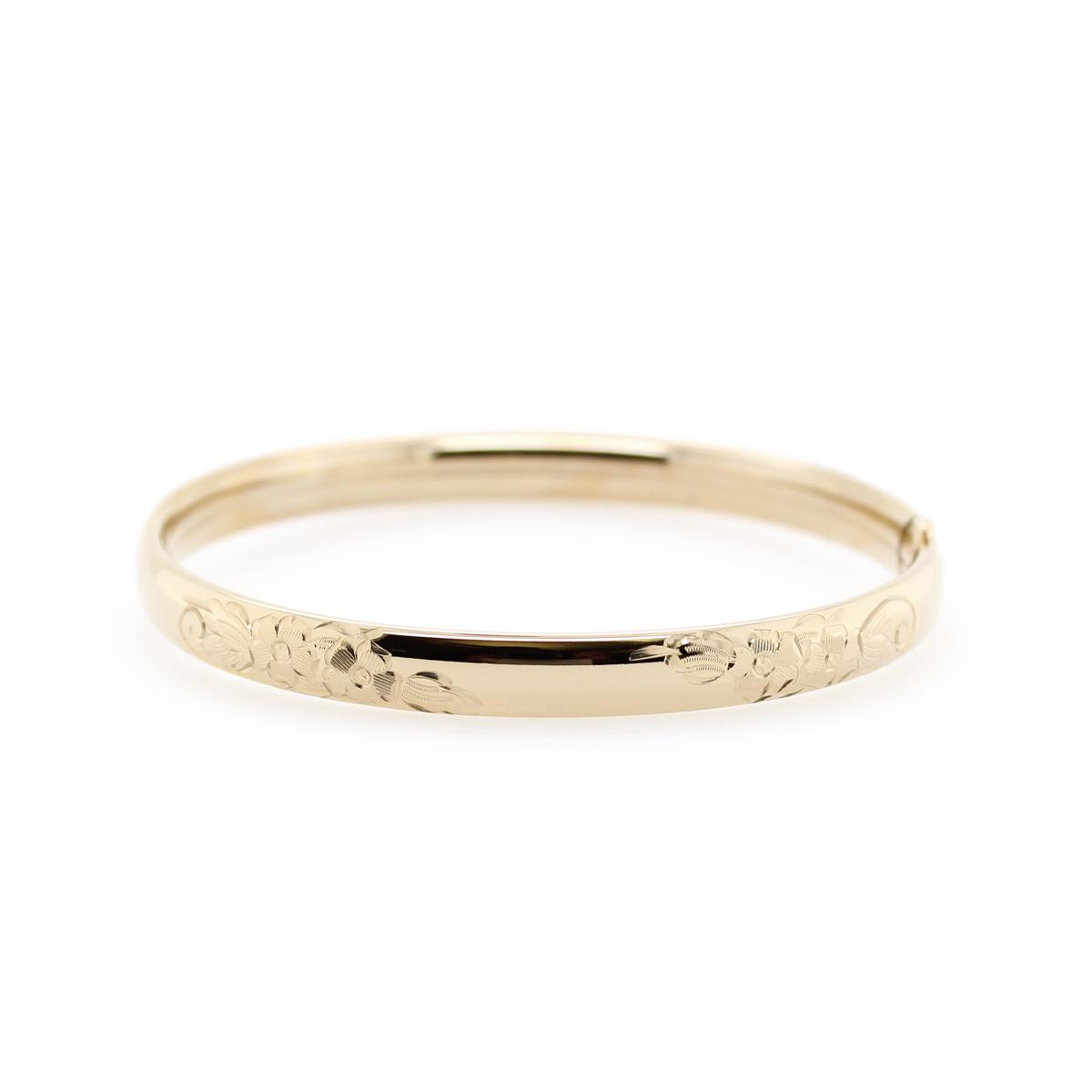 14 Karat Yellow Gold Filled 6mm Floral Bangle Bracelet