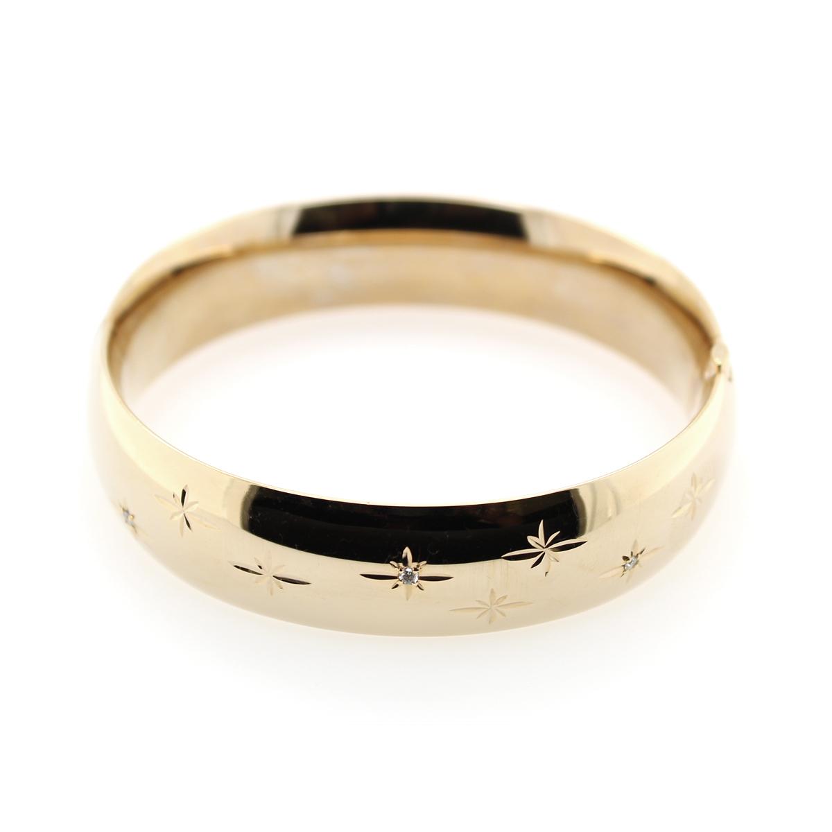 14 Karat Yellow Gold Filled 16mm Diamond Bangle Bracelet