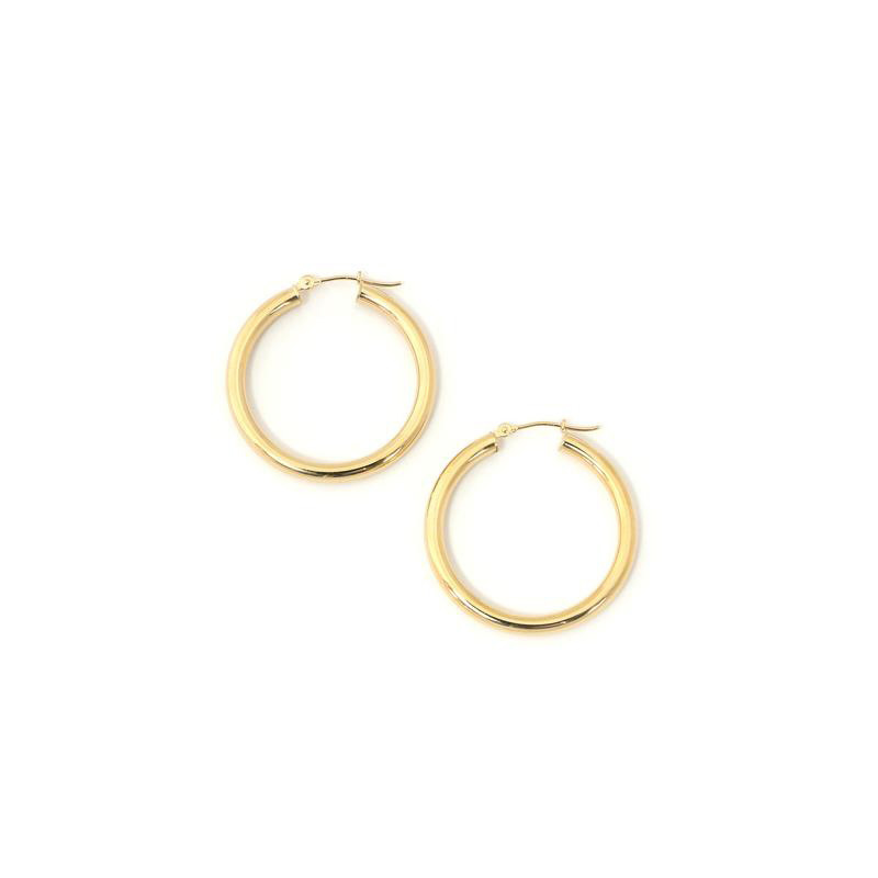 14 Karat yellow gold  tubular hoop earrings.