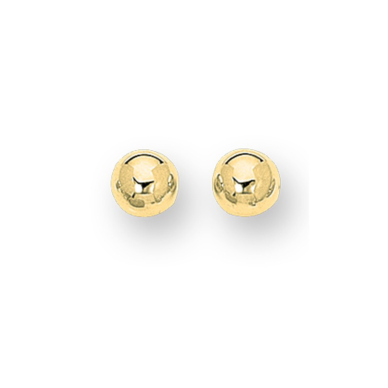 14 Karat yellow gold 8mm Ball earrings, posted backs.
