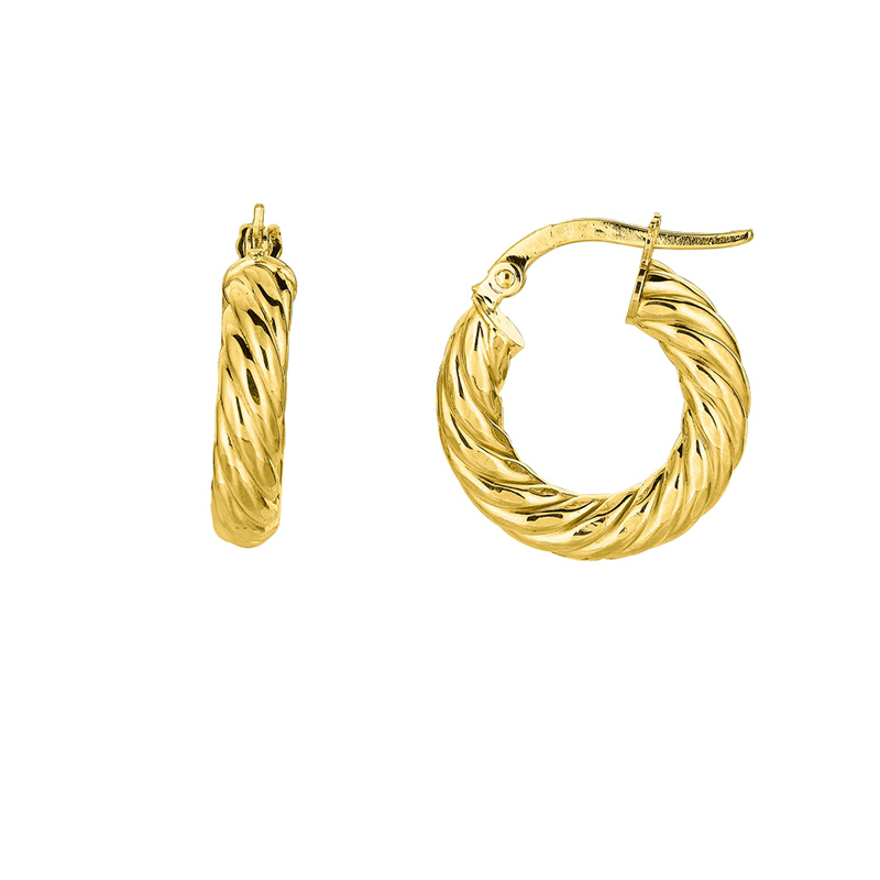 14 Karat yellow gold shiny small round textured Hoop Earrings.