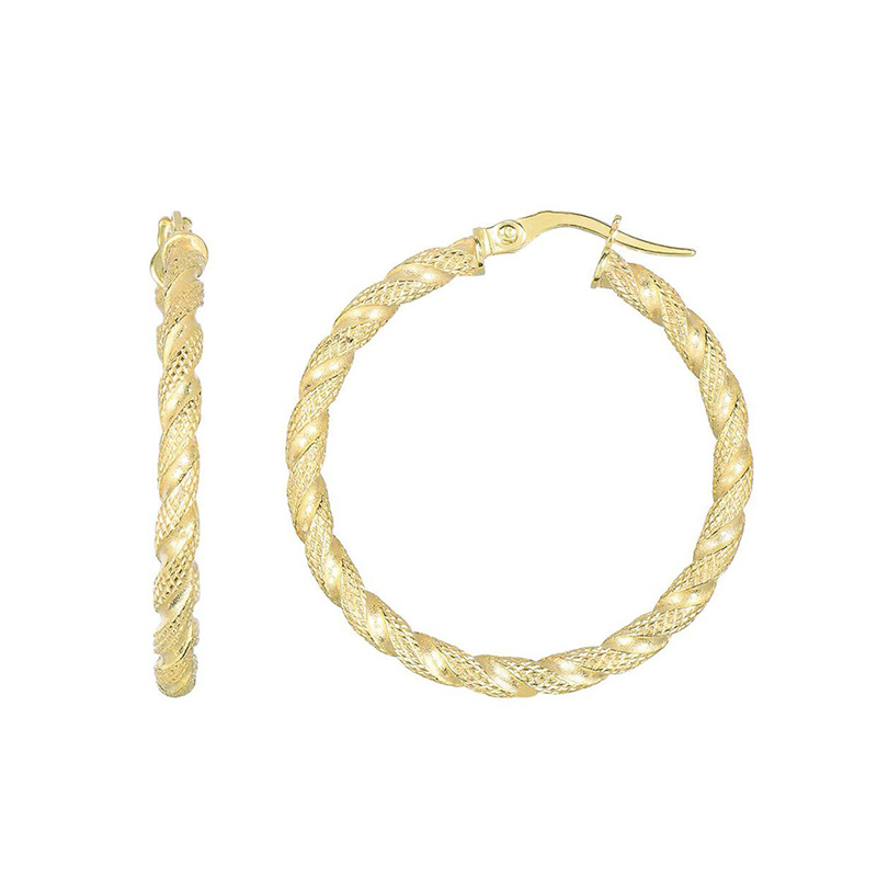 14 Karat yellow gold 30 by 2.5mm textured round tube hoops