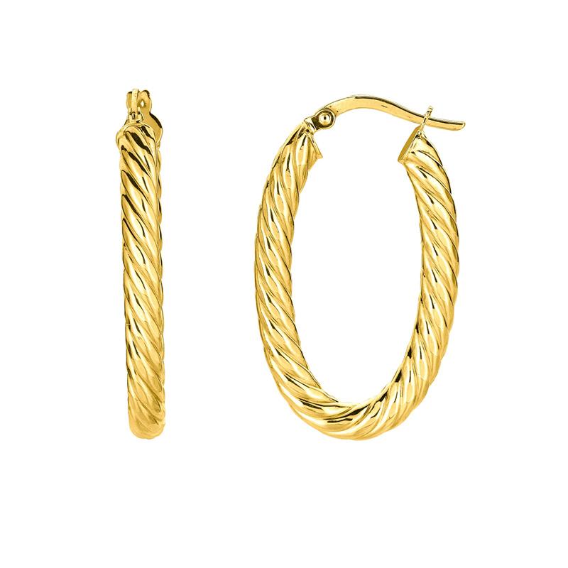 14 Karat Yellow Gold shiny oval textured hoop earrings.