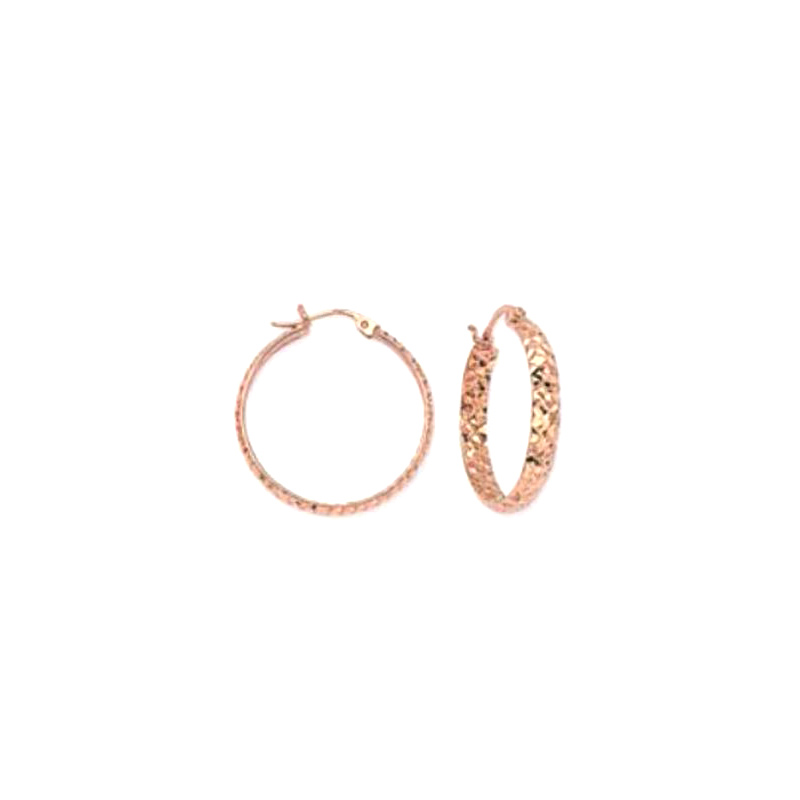 14 Karat Rose Gold 25 MM Hoop earrings with a hammered design.