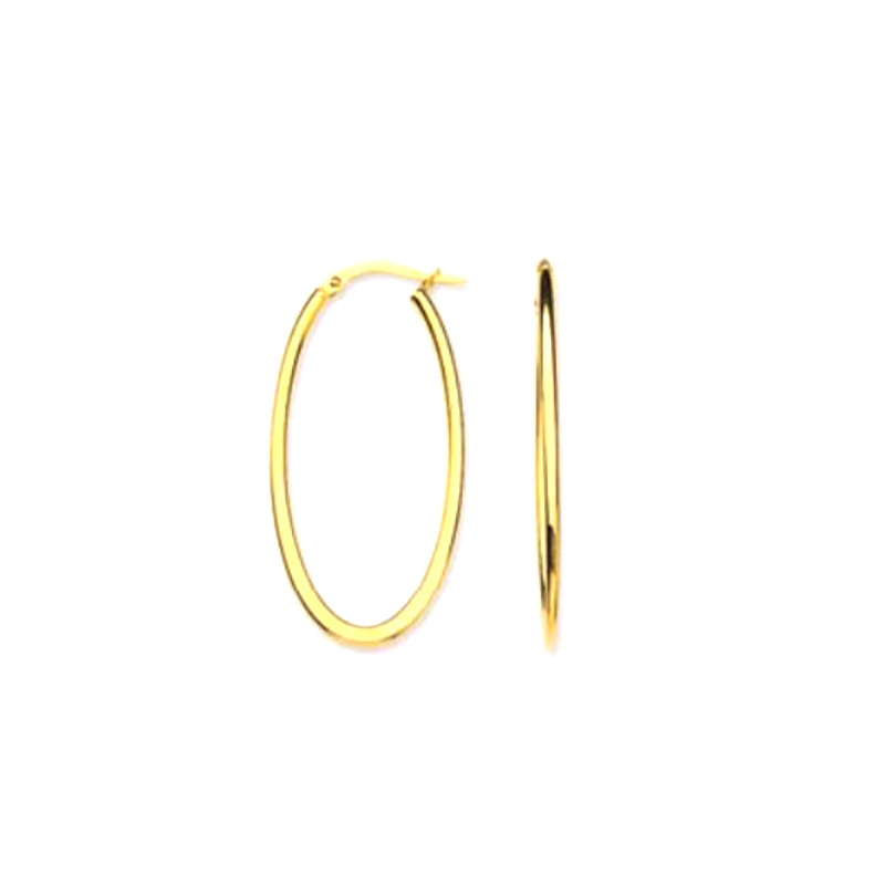 14 Karat Yellow gold oval hoop earrings.