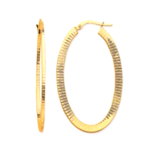 14 Karat Yellow Gold Square Tube Oval Hoop Earrings
