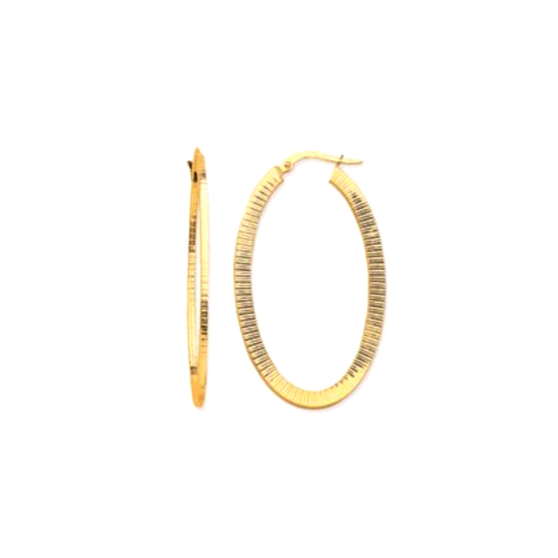14 Karat square tube design oval hoop earrings.