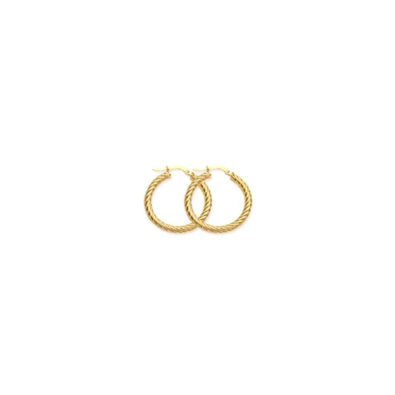 14 Karat yellow gold 25MM twisted rope hoop earrings.