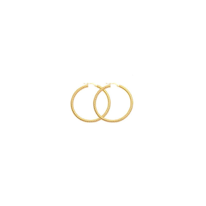 14 Karat yellow gold 40mm twisted rope hoop earrings.