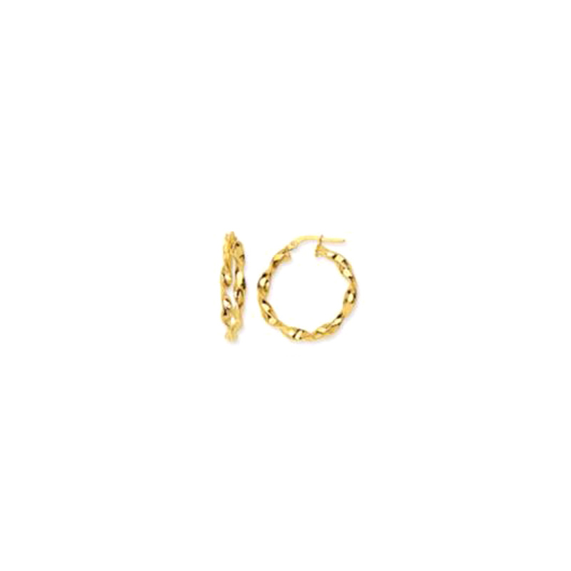14 Karat yellow gold 20mm fancy twisted hoop earrings.