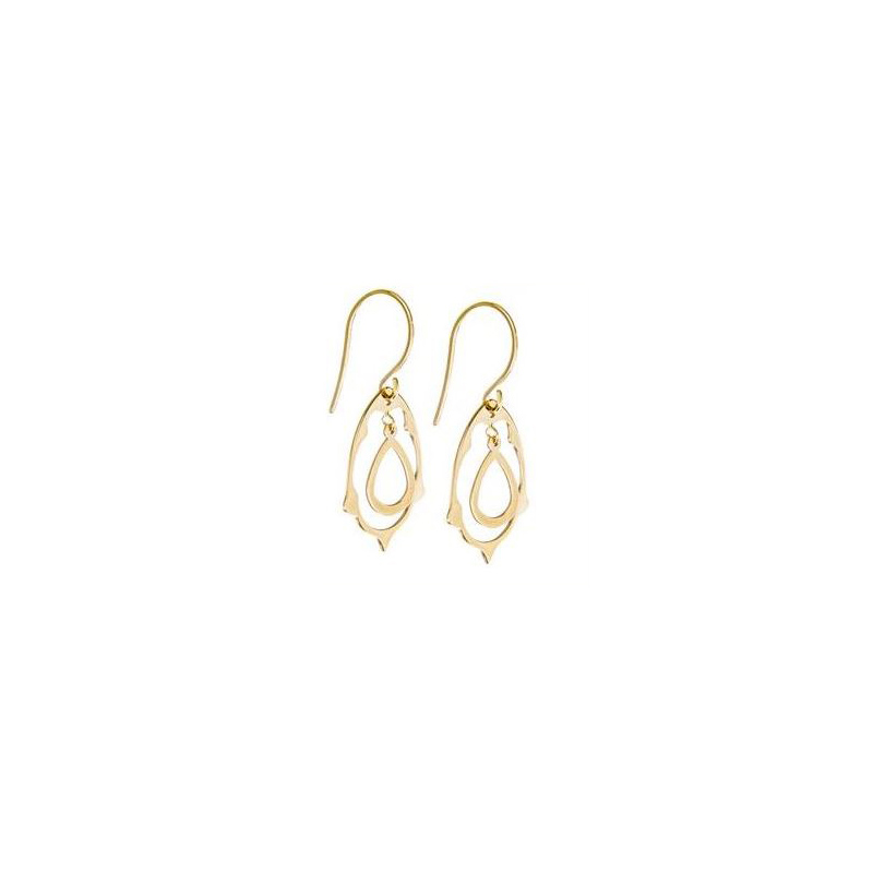 14 Karat yellow gold dangle teardrop earrings.