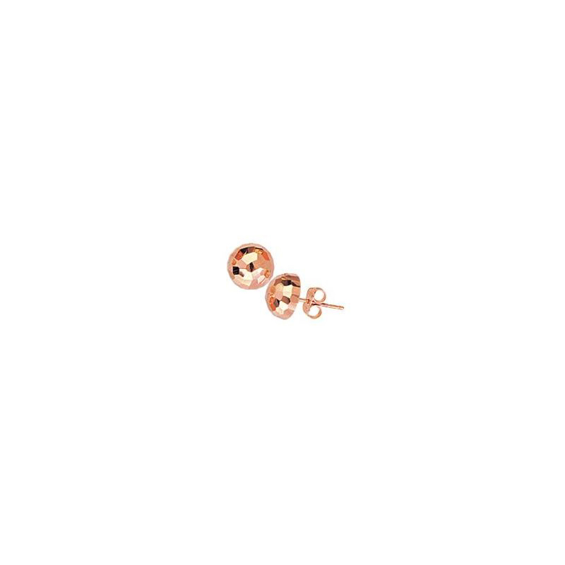 14 Karat rose gold 1/2 ball hammered stud earrings.