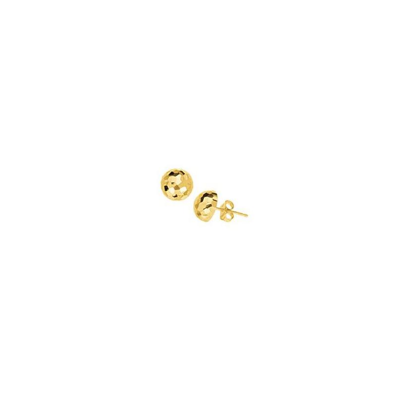 14 Karat yellow gold 1/2 ball hammered stud earrings.