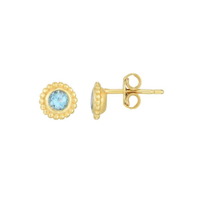 Royal Chain 14 Karat Yellow Gold Swiss Blue Topaz Stud Earrings