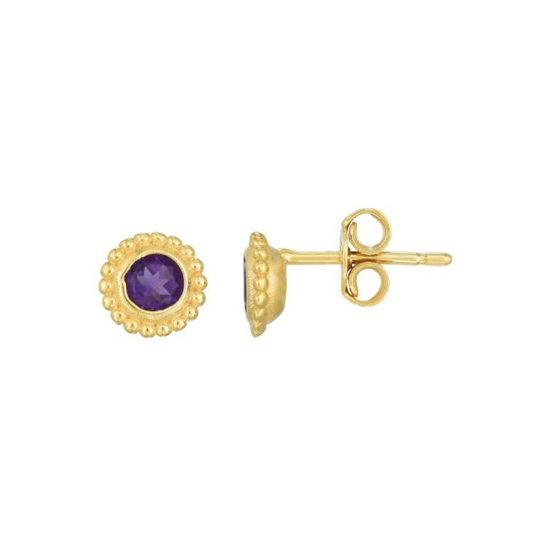 Royal Chain 14 Karat Yellow Gold Amethyst Stud Earrings