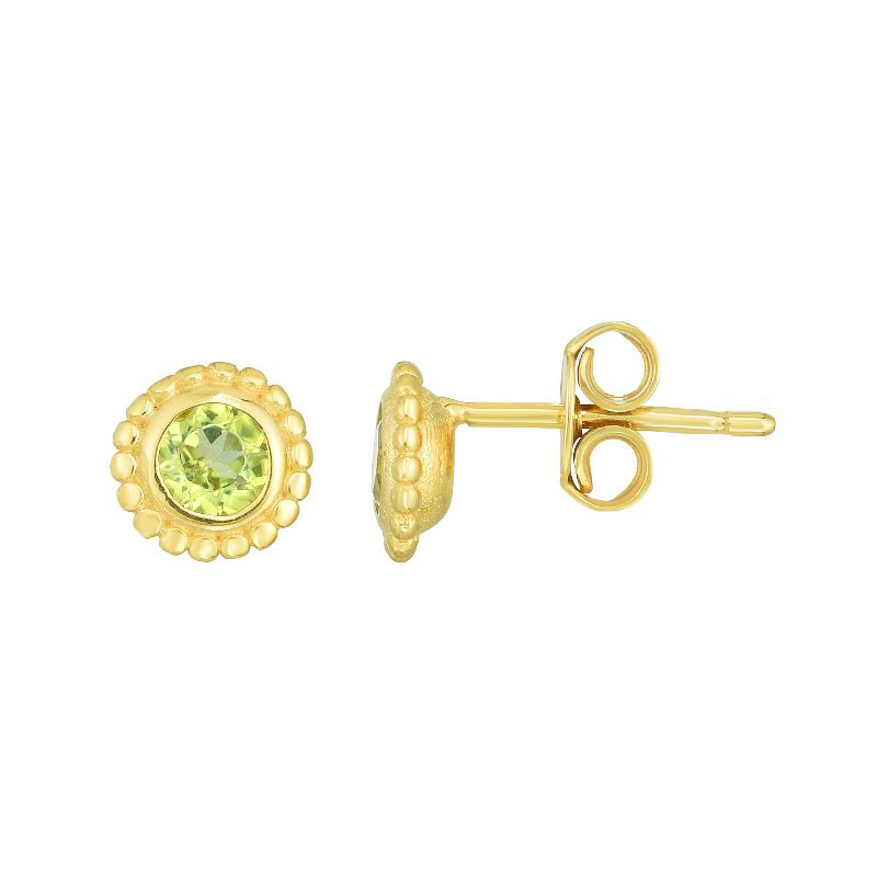Royal Chain 14 Karat Yellow Gold Peridot Stud Earrings