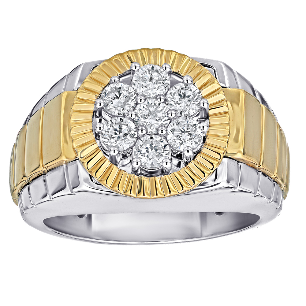 Shefi Diamonds 14 Karat White and Yellow Gold Diamond Cluster Ring (1 Carat)