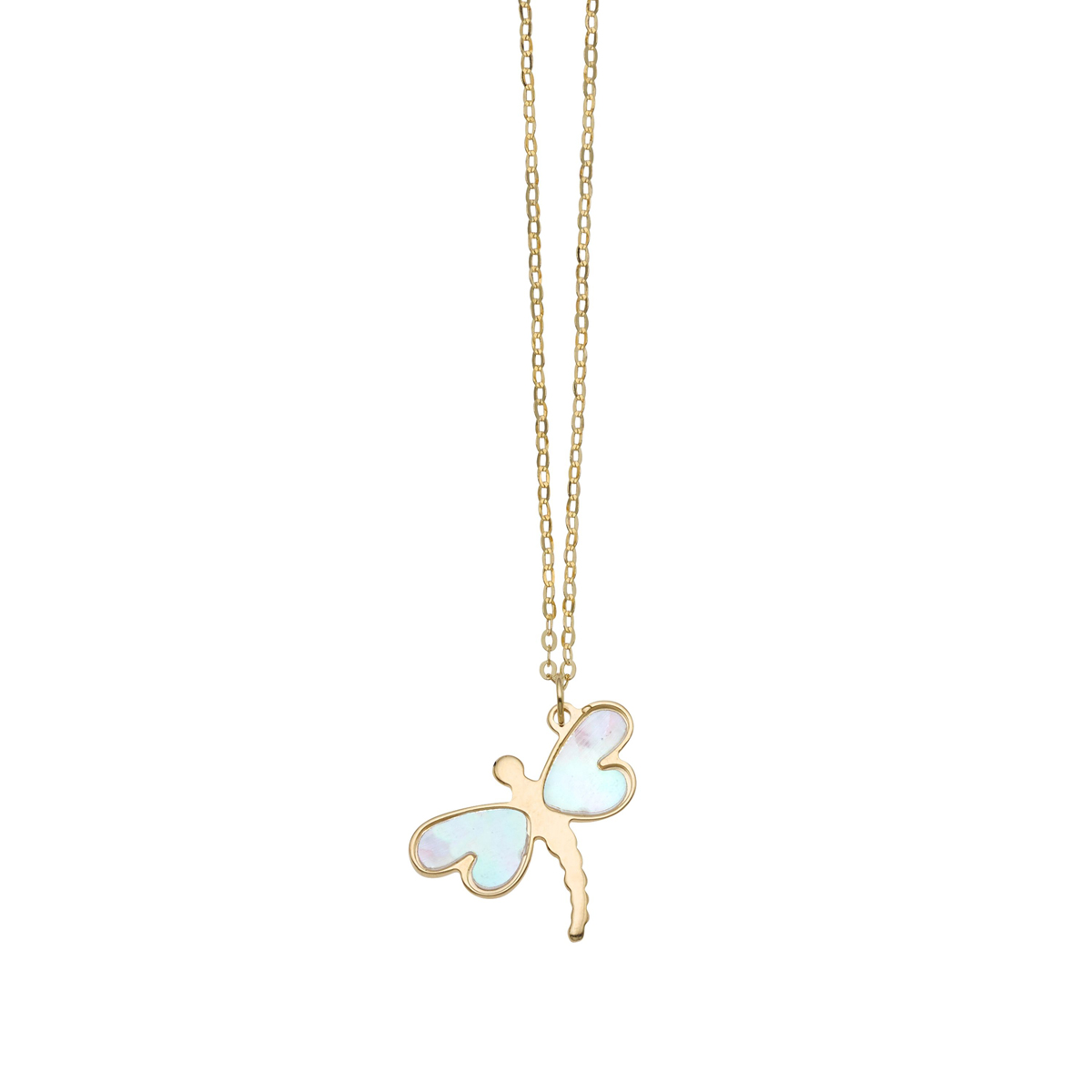 14 Karat Yellow Gold Mother of Pearl Dragonfly Pendant Necklace