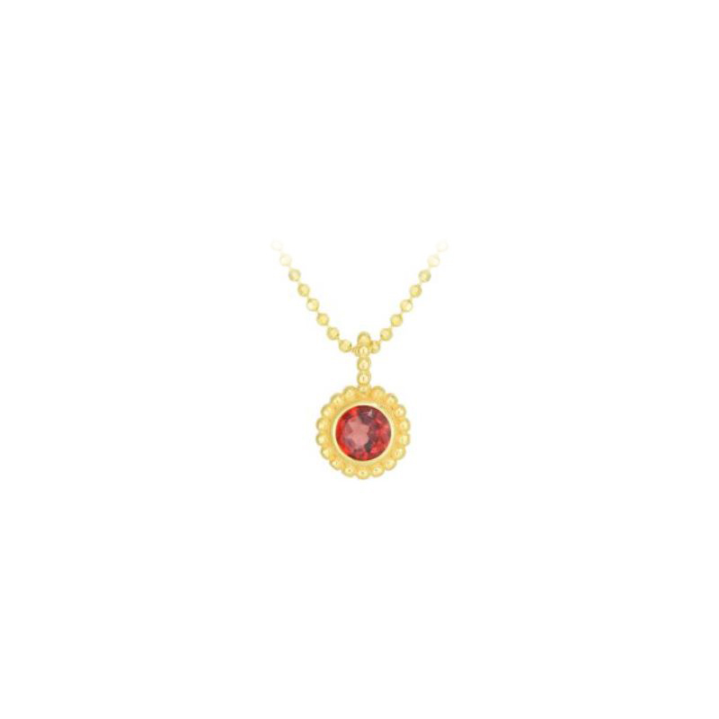 Royal Chain 14 Karat Yellow Gold Garnet Pendant Necklace