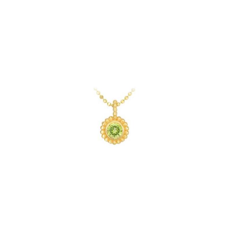 Royal Chain 14 Karat Yellow Gold Peridot Pendant Necklace