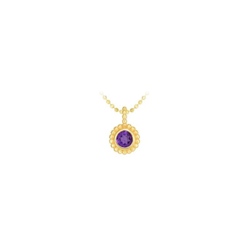Royal Chain 14 Karat Yellow Gold Amethyst Pendant Necklace