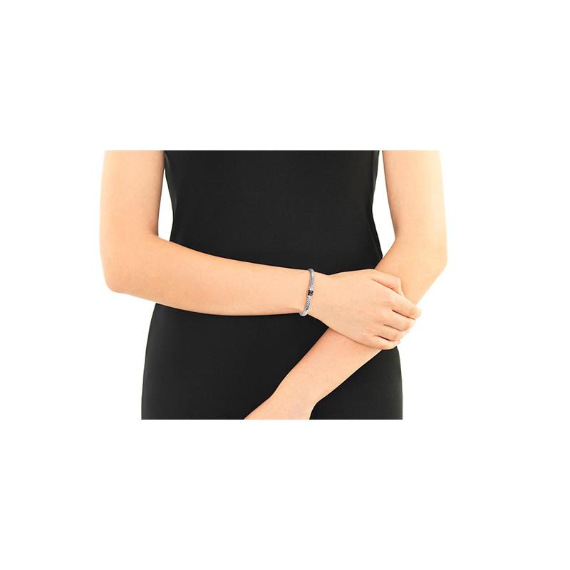 John Hardy Modern Chain Silver Black Sapphire Clasp Bracelet.