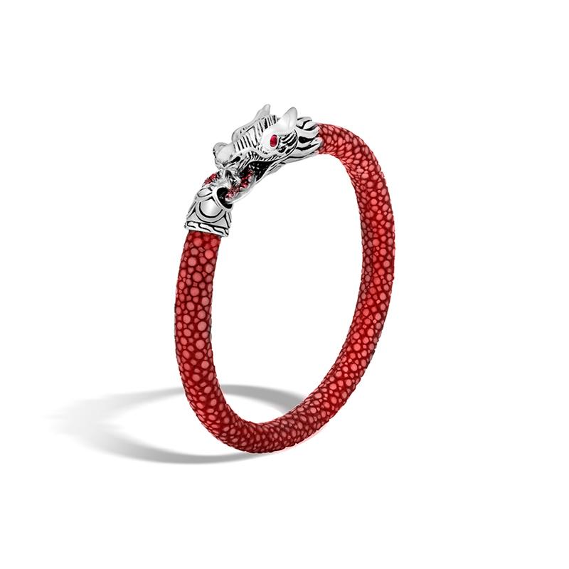 John Hardy Legends Naga Lava Red Sapphire Red Stingray Cord Bracelet.