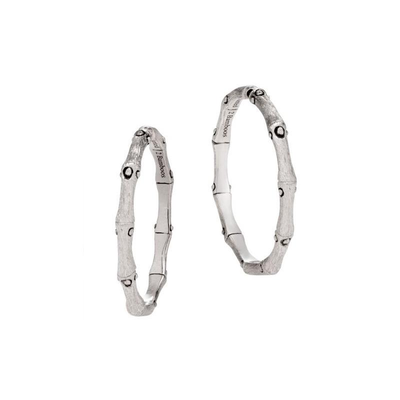 John Hardy Bamboo Silver Medium Hoop Earrings.