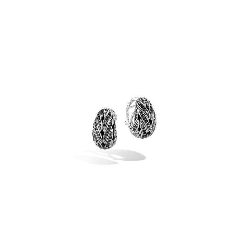 John Hardy Buddha Belly Earring with Black Sapphire, Black Spinel