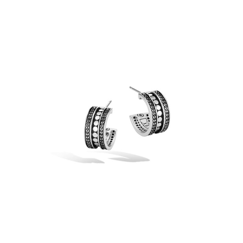 John Hardy Small Hoop Earring with Black Spinel