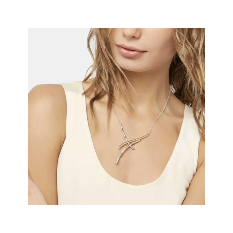John Hardy Bamboo Gold & Silver Overlapping Branch Necklace.