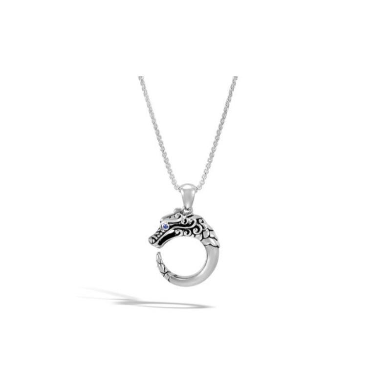 John Hardy Legends Naga Small Silver Dragon Circle Pendant Necklace.