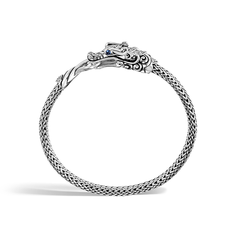John Hardy Sterling Silver Legends Naga Blue Sapphire Dragon Head Chain  chain Bracelet.