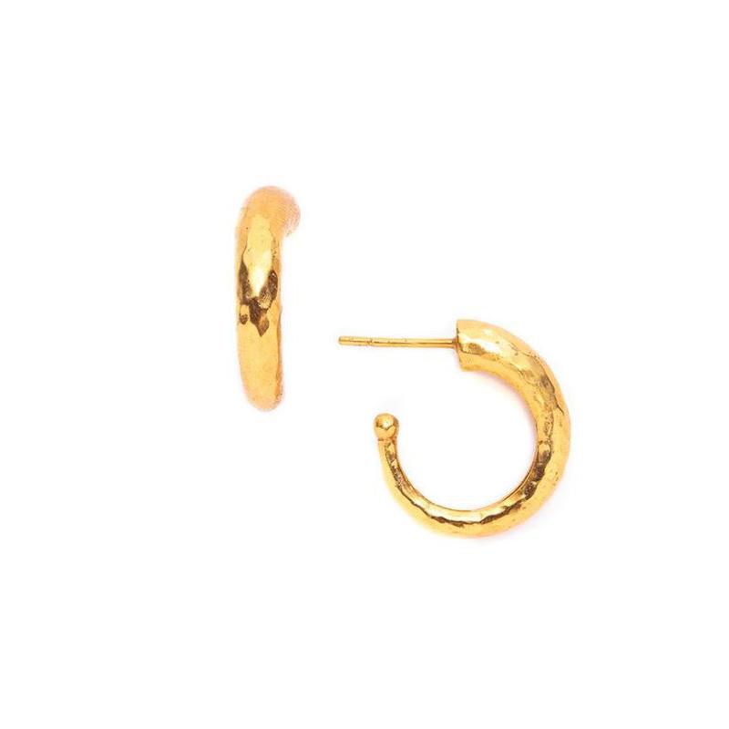 Julie Vos 24 Kaart Gold Plated Hammered Hoop Earrings