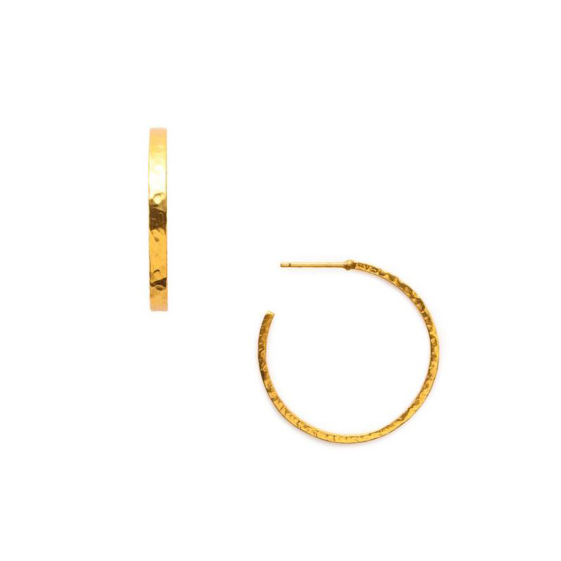 Julie Vos 24 Karat Gold Plated Crescent Hoop Earrings