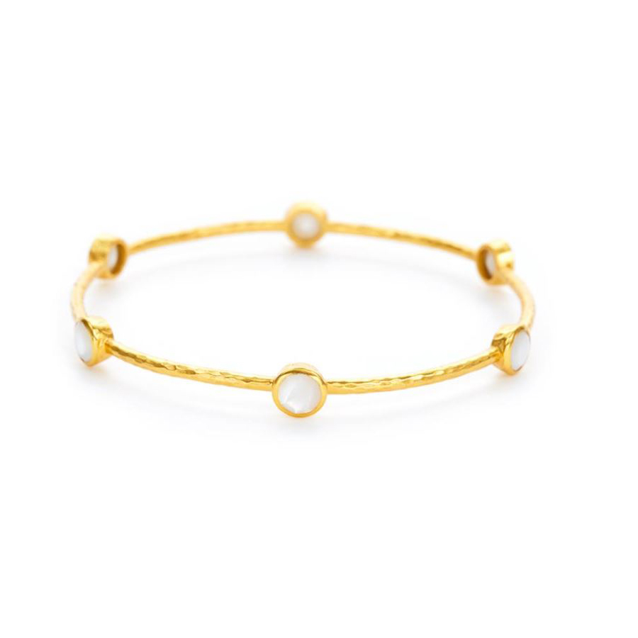 Julie Vos 24 Karat Gold Plated Milano 6 Stone Mother-of-Pearl Bangle Bracelet