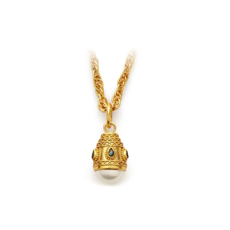 Julie Vos 24 Karat Gold Plated Baroque Pearl and Labradorite Pendant Necklace
