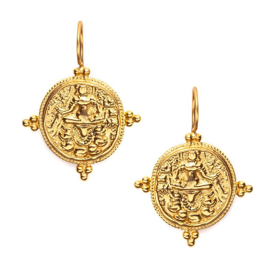 Julie Vos 24 Karat Yellow Gold Plated Quatro Coin Earrings