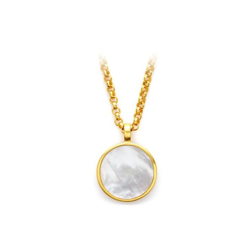Julie Vos 24 Karat Yellow Gold Plated Carved Pendant with Mother-of-Pearl Back
